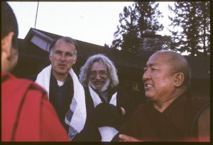 Jerry Brown and Jerry Garcia with Gyuto monks
