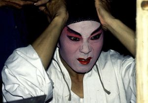 getting dressed to perform, opera in chendgu, 1992