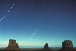 star trails at monument valley 1989